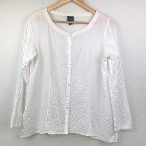 Eileen Fisher white button up size xs shirt